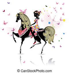 vacker, ridande, flicka, häst