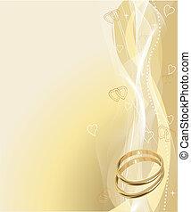 vacker, ringer, bakgrund, bröllop