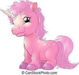 vacker, rosa, enhörning