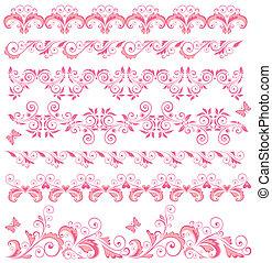 vacker, rosa, kanter, seamless