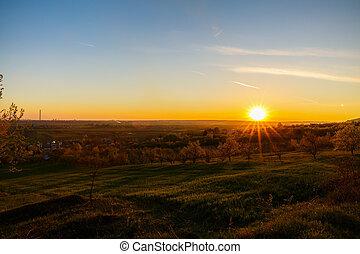 vacker, rumänien, land,  över, fält, solnedgång, lantlig