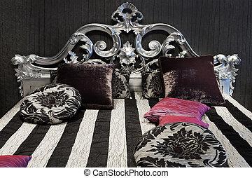 vacker, säng, fashionabel