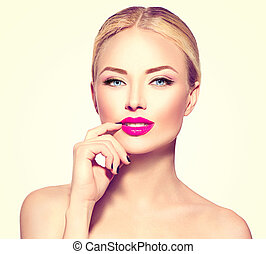 vacker, sätt modellera, flicka, med, blont hår