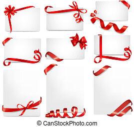 vacker, sätta, gåva, bugar, vektor, kort, remsor, röd