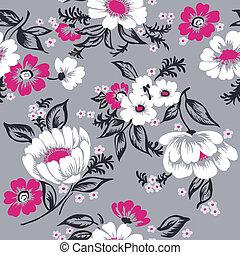 vacker, sätta, -, seamless, vektor, design, bakgrund, blommig, urklippsalbum, din