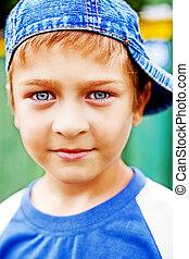 vacker, söt, ögon, blå, en, unge