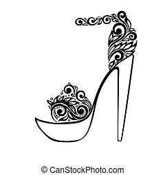 vacker, sandals, dekorerat, med, svartvitt, blommig, prydnad