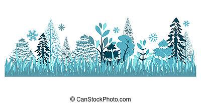 vacker, seamless, blå, mönster, med, vinter, skog