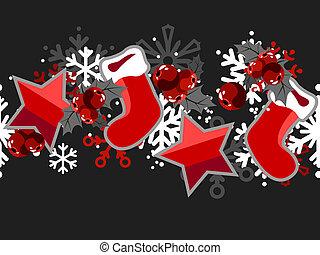 vacker, seamless, jul, mönster, med, olik, objekt