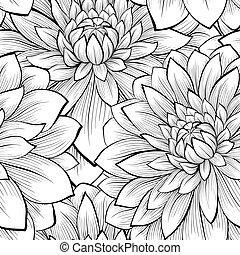 vacker, seamless, svart fond, monokrom, vita blommar