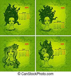 vacker, series., färgrik, kalendrar, flickor, 1, year., vektor, 2014, del