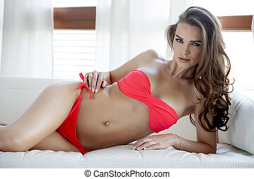 vacker, sexig, bikini, kvinna, röd
