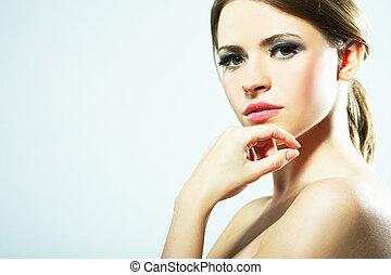 vacker, sexig, womanstående