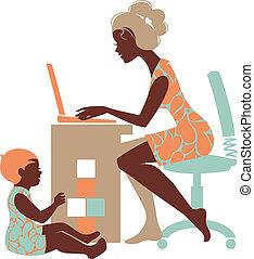 vacker, silhuett, av, mor, –, freelancer, med, anteckningsbok, och