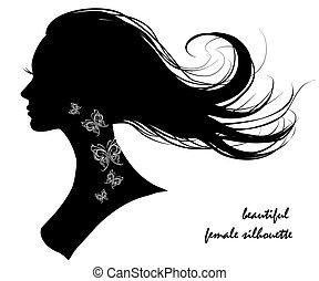 vacker, silhuett, kvinnlig