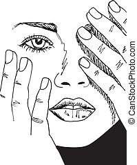 vacker, skiss, kvinna, face., illustration, vektor