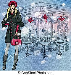 vacker, skiss, vinter, parisare, fashionabel, utsmyckningar...