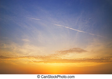 vacker, sky, solnedgång, tid