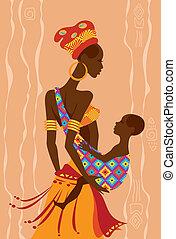 vacker, slunga, henne, afrikansk, mor, baby