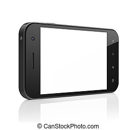 vacker, smartphone, generisk, render., bakgrund., rörlig telefonera, vit, smart, 3