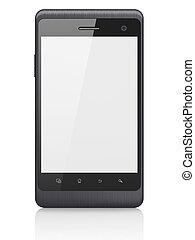 vacker, smartphone, render, bakgrund., generisk, rörlig telefonera, vit, smart, 3