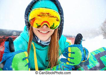 vacker, snowboarder, henne, sittande, ung, snowboard., lycklig