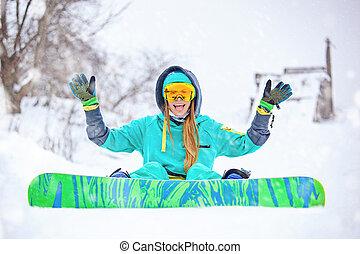vacker, snowboarder, ung, snowboard., flicka, lycklig