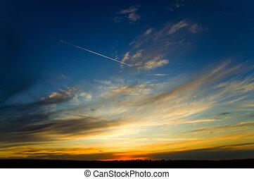vacker, solnedgång