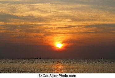 vacker, solnedgång, hav