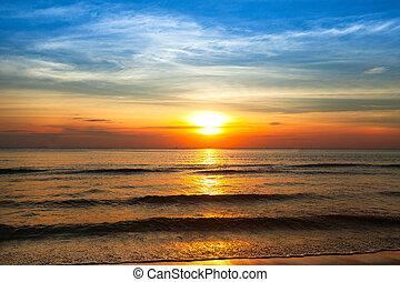 vacker, solnedgång kust, av, siam, golf