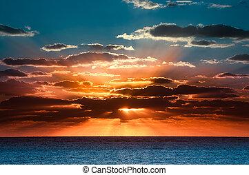 vacker, soluppgång