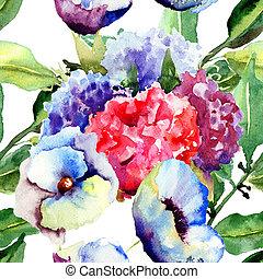 vacker, sommar, blomningen
