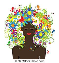 vacker, sommar, frisyr, kvinna uppsyn, blommig