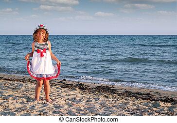 vacker, sommar, litet, scen, flicka, strand
