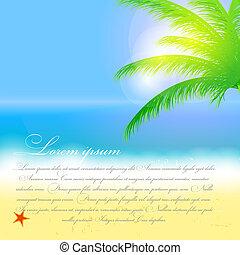vacker, sommar, strand, sol, träd, illustration, vektor, palm, bakgrund, hav