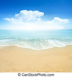 vacker, sommar, strand