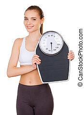 vacker, stå le, kvinna, vikt, isolerat, ung, medan, väga,...
