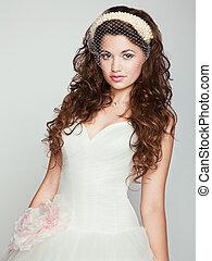 vacker, stående, dress., bride., bröllop