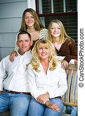 vacker, stående, -, familj