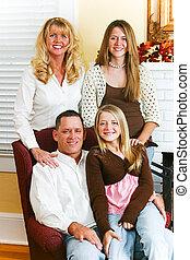 vacker, stående, familj