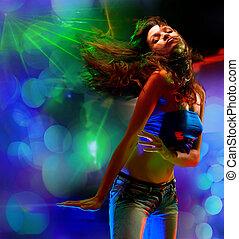 vacker, stående, flicka, dansande