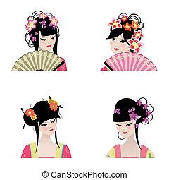 vacker, stående, flickor, kinesisk