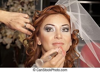 vacker, stående, klänning, bride., bröllop