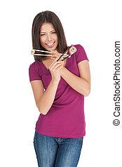 vacker, stående, sushi., kvinna räcka, sushi, isolerat, medan, kamera, matpinnar, lopp, blandad, vit, le