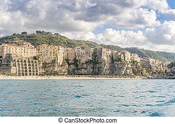 vacker, stad, calabria, tropea, italien, antennen beskådar