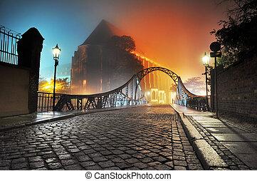 vacker, stad, gammalt överbrygga, natt, synhåll