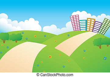 vacker, stad, grönt kulle