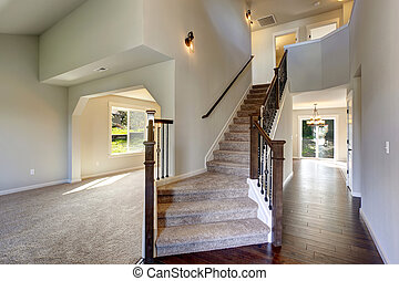 vacker, staircase., matta, väg, inträde