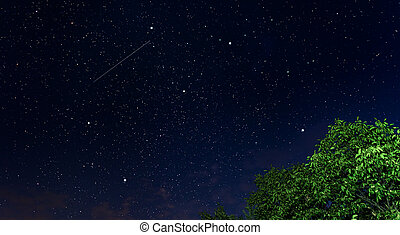 vacker, starry, natt, sky.