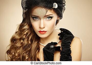 vacker, stil, årgång, retro, stående, woman.